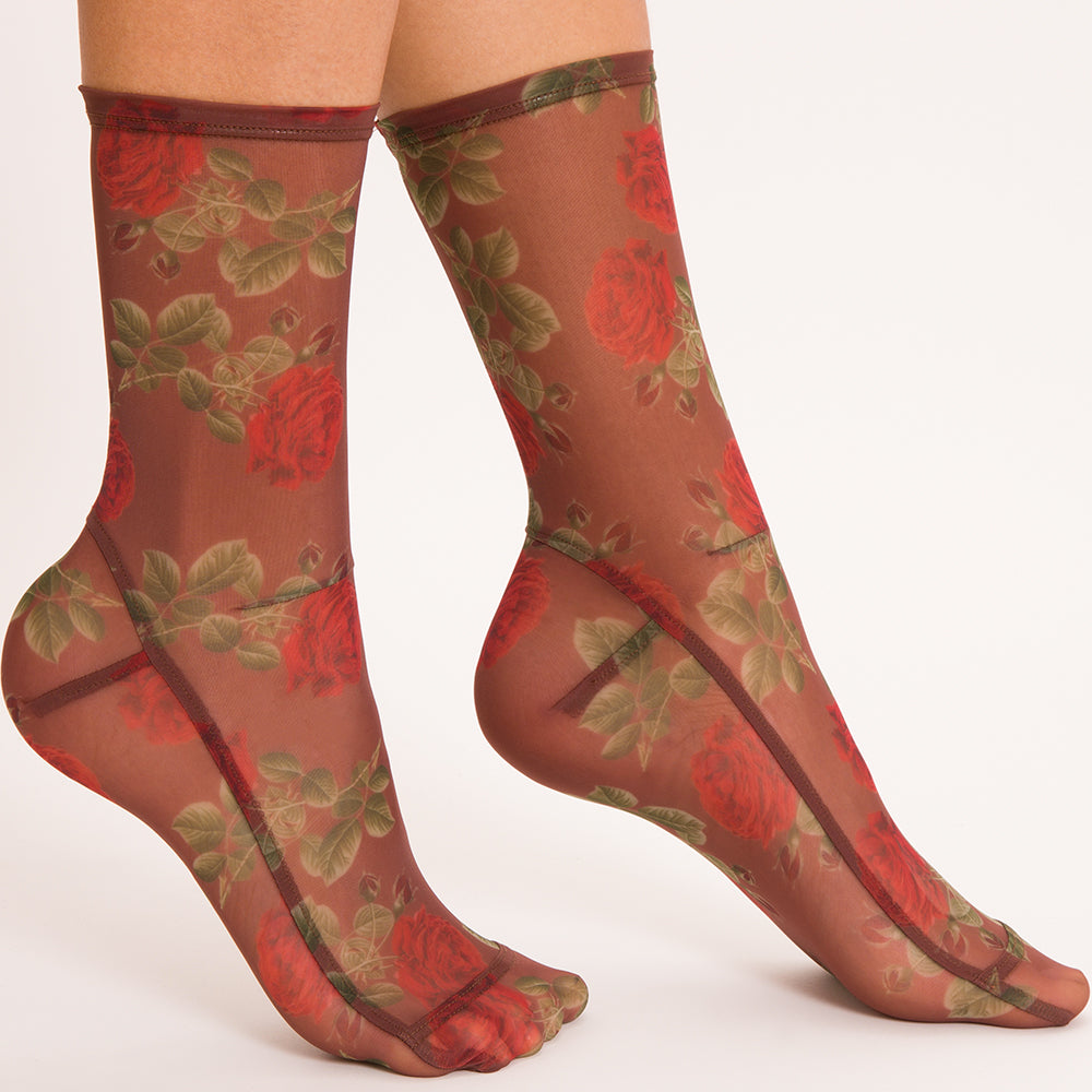 Darner Brown Roses Mesh  Socks