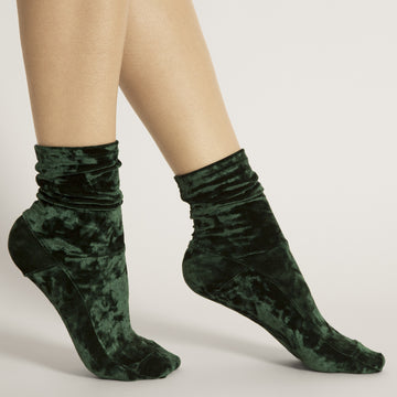 Darner Dark Green Crushed Velvet Socks - Darner Socks