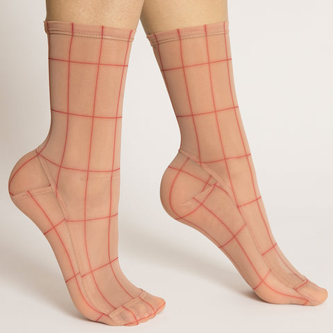 Darner Red & Cream Rectangles Mesh Socks
