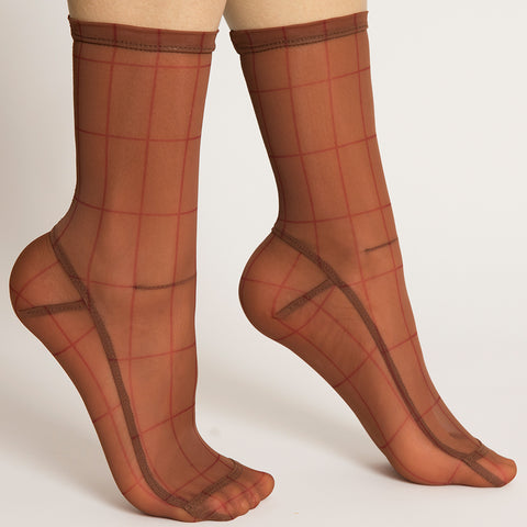 Darner Red Rectangles Mesh Socks