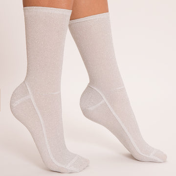 Darner White Tinsel Shimmer Socks