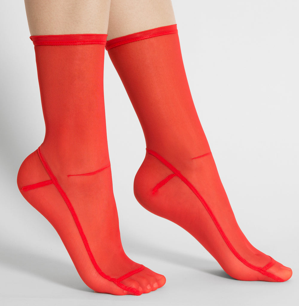 Darner Solid Spicy Red Mesh Socks - Darner Socks