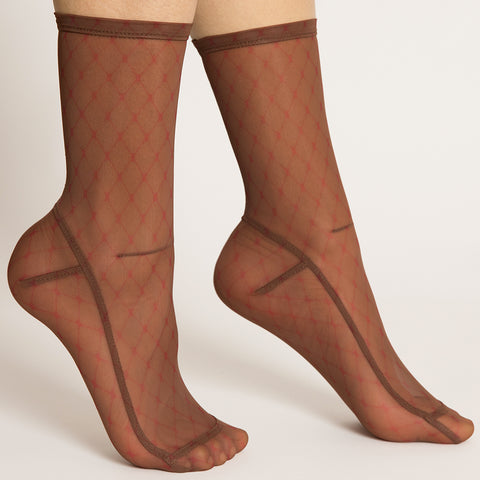 Darner Big Red Fishnet Mesh Socks
