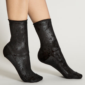 Darner Black Crushed Velvet Socks