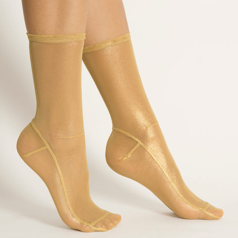 Darner Light Gold Foil Mesh Socks - Darner Socks