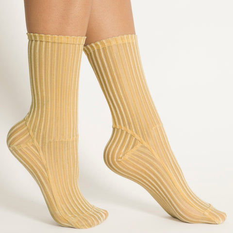 Darner x MATCHES Golden Yellow Ribbed Velvet - Darner Socks