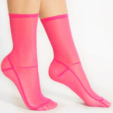 Darner Solid Hot Fuchsia Pink Mesh Socks
