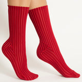 Darner Red Ribbed Velvet socks - Darner Socks
