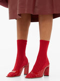 Darner Red Ribbed Velvet socks
