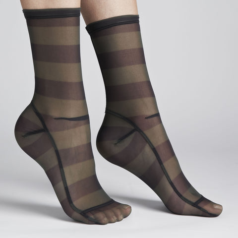 Darner Green & Black Stripe Mesh Socks - Darner Socks