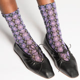 Darner Purple Daisy Mesh Socks