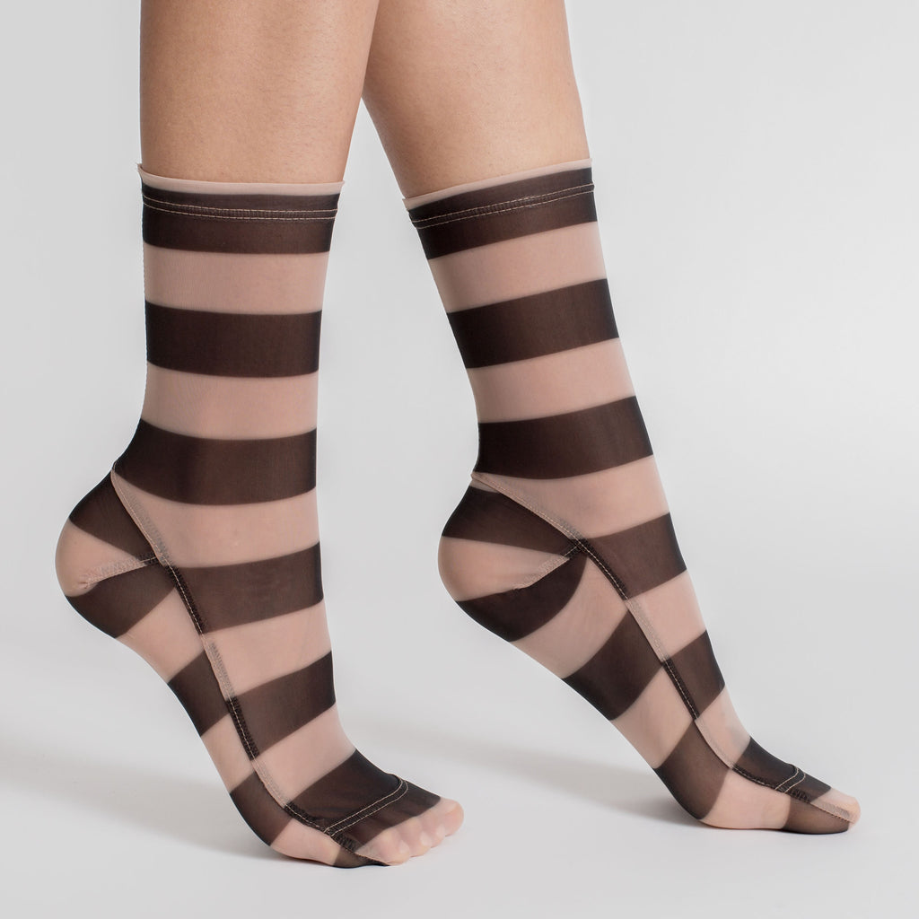 Darner Nude & Black Stripe Mesh Socks