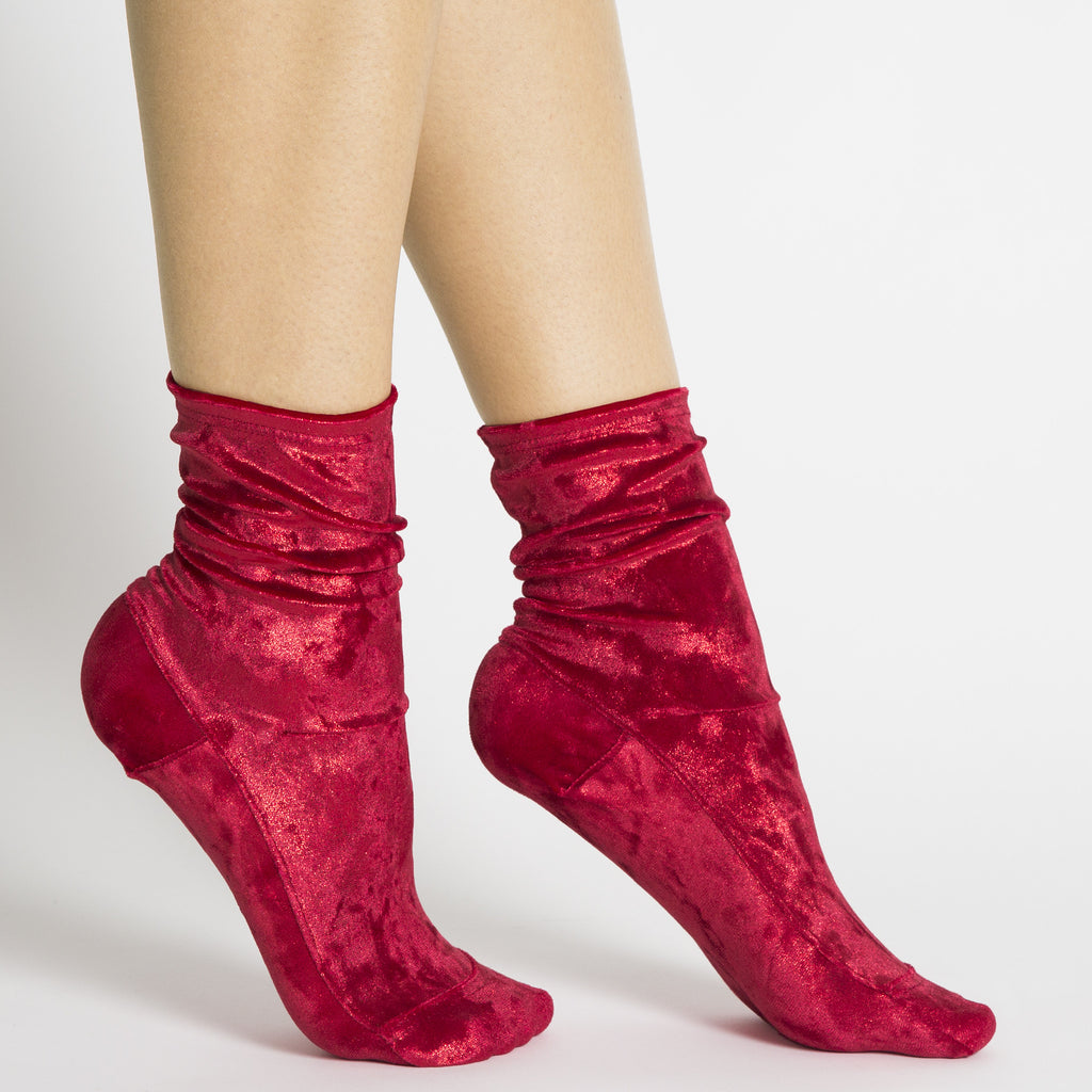 Darner Red Crushed Velvet Socks - Darner Socks