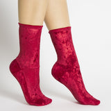 Darner Red Crushed Velvet Socks