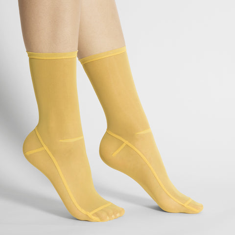 Darner Solid Yellow Mesh Socks - Darner Socks