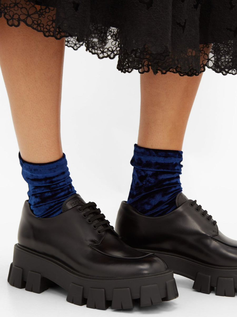 Darner Midnight Blue Crushed Velvet Socks
