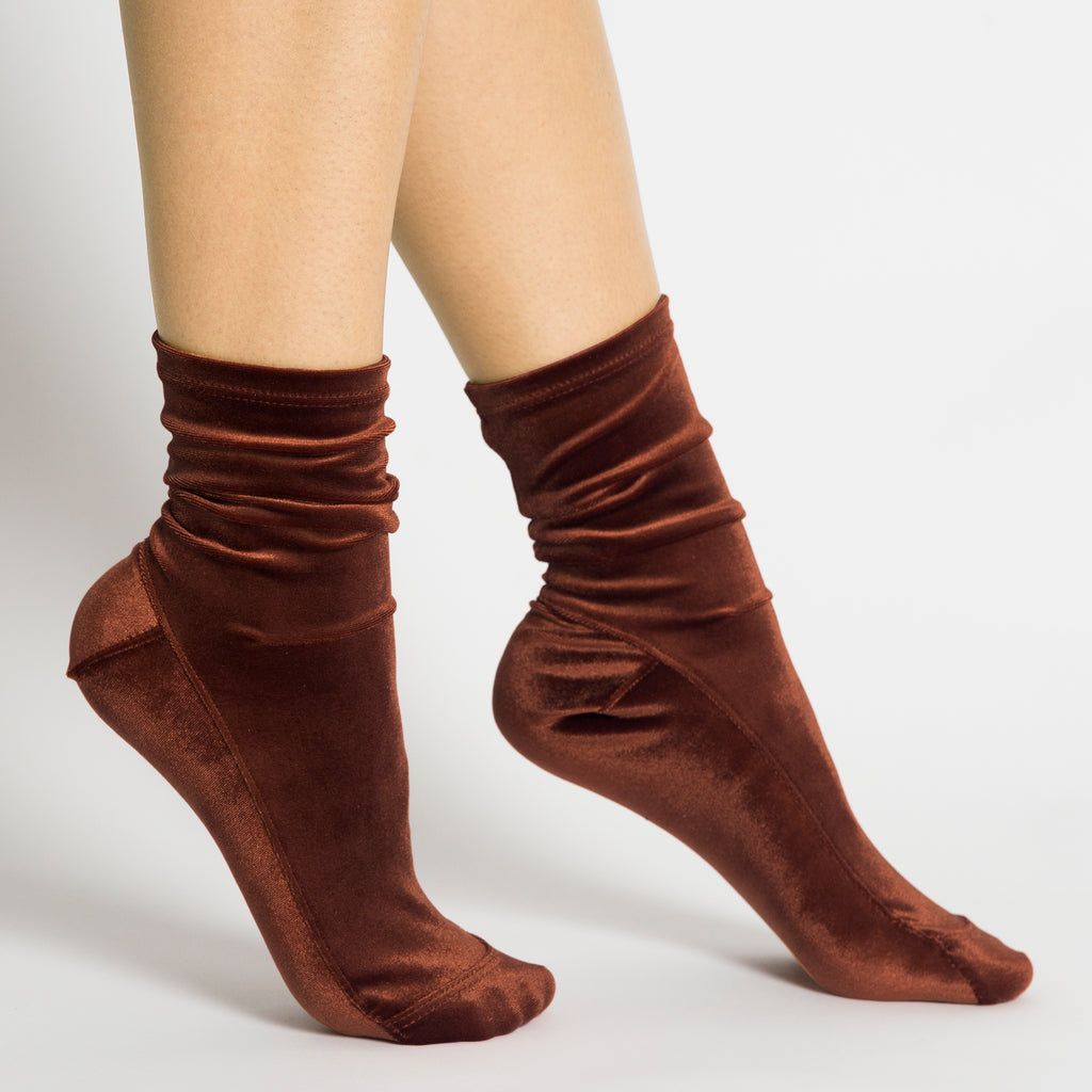 Darner X Opening Ceremony Chocolate Brown Velvet Socks - Darner Socks