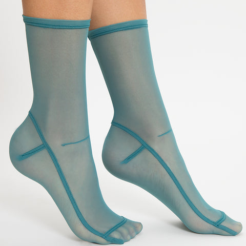 Darner Teal Mesh Socks