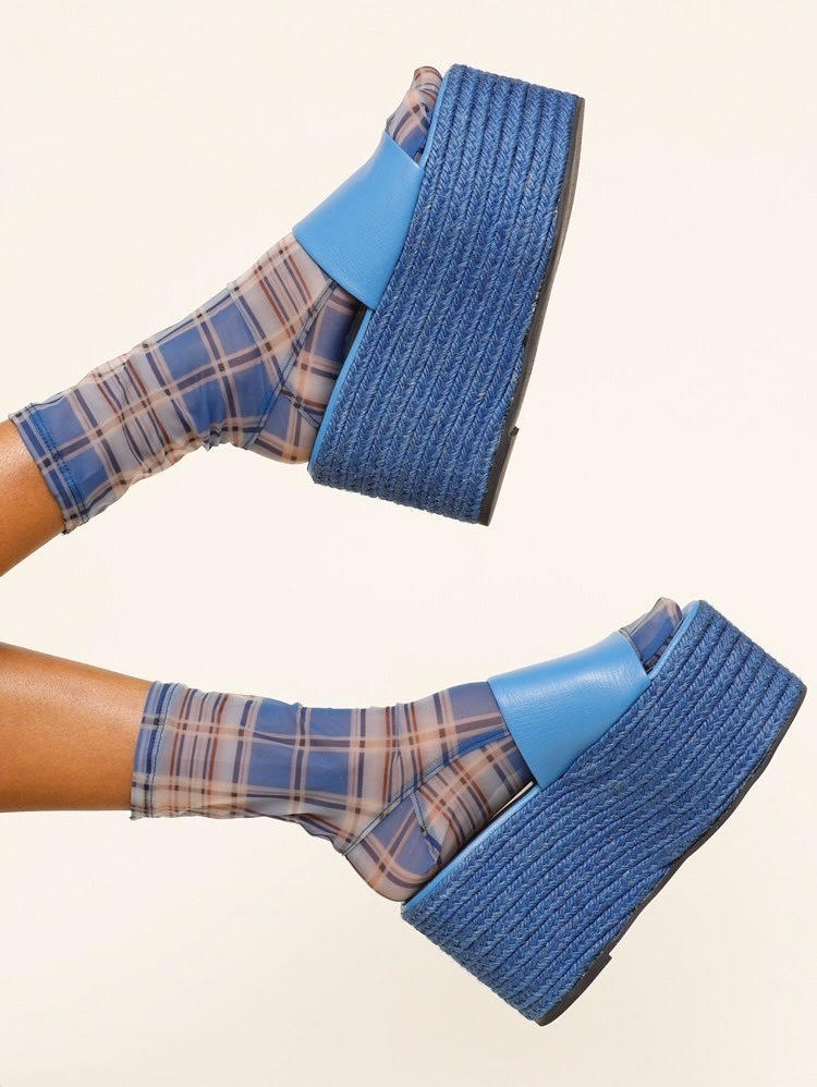 Darner x Simon Miller Blue Plaid Mesh Socks