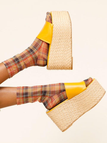 Darner x Simon Miller Autumn Plaid Mesh Socks - Darner Socks