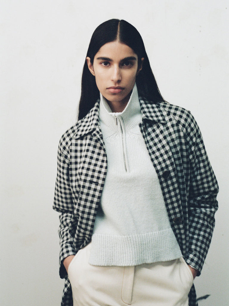 Gingham Cocoon Coat
