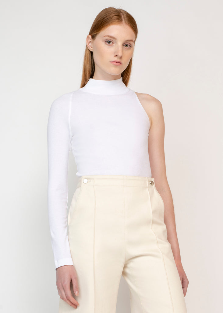 ONE SLEEVE TURTLENECK TOP