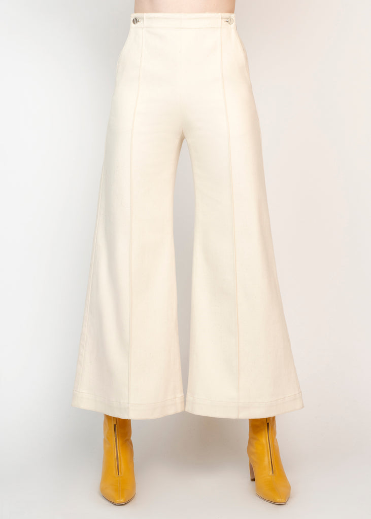 Pintuck Flare Cropped Trousers