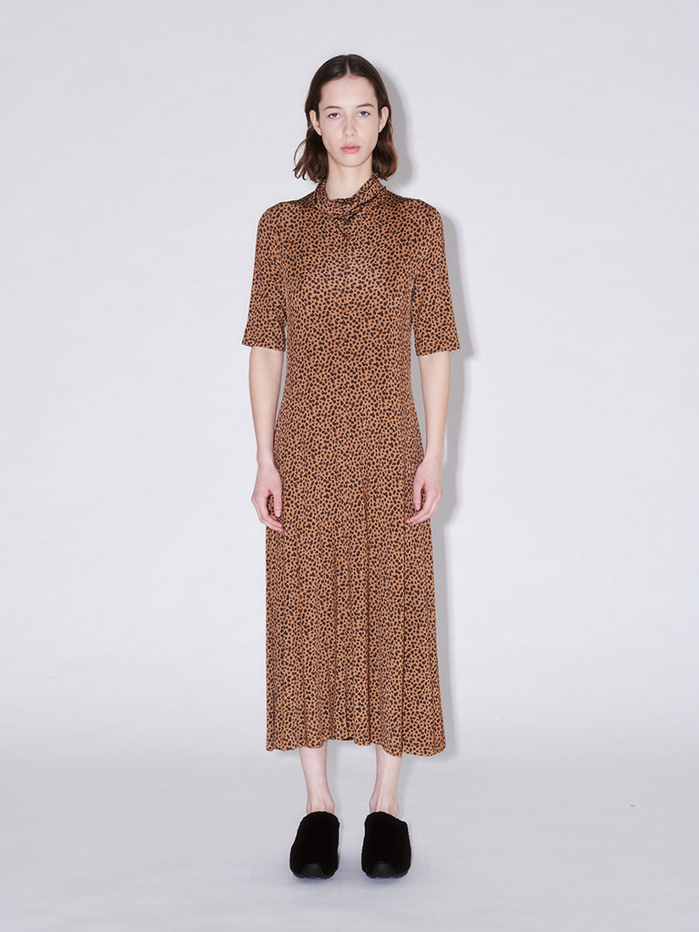 Cowl Turtleneck Dress Leopard