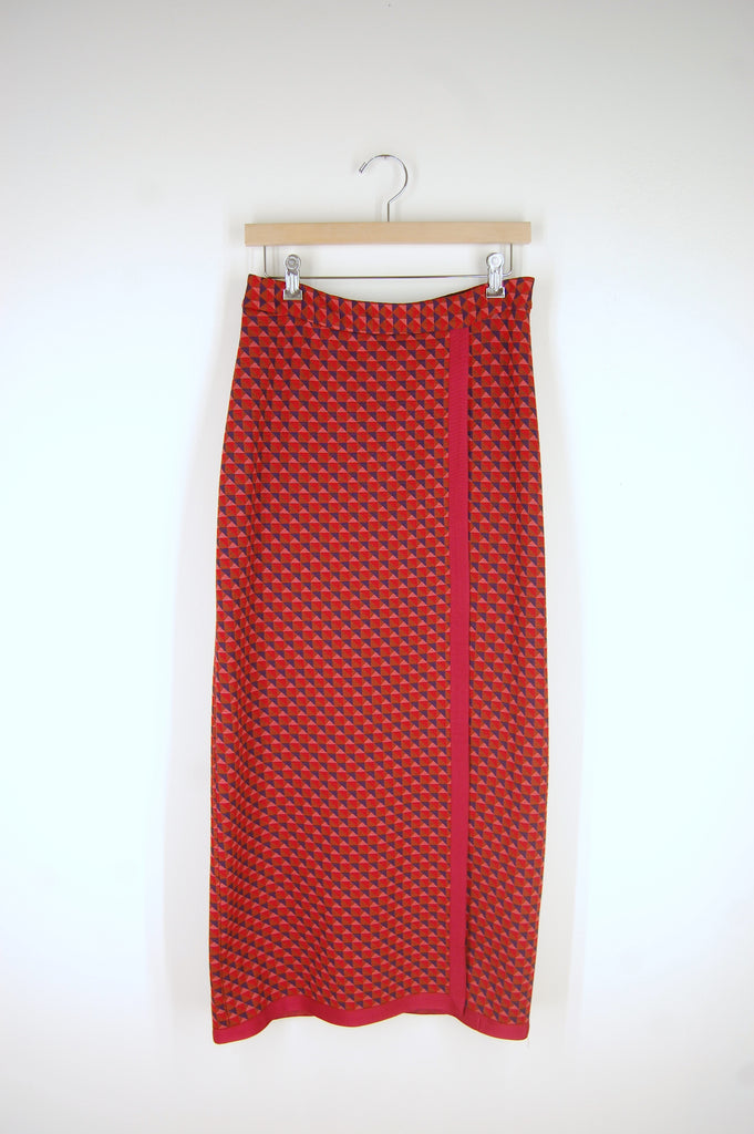 Bordered Wrap Front Skirt