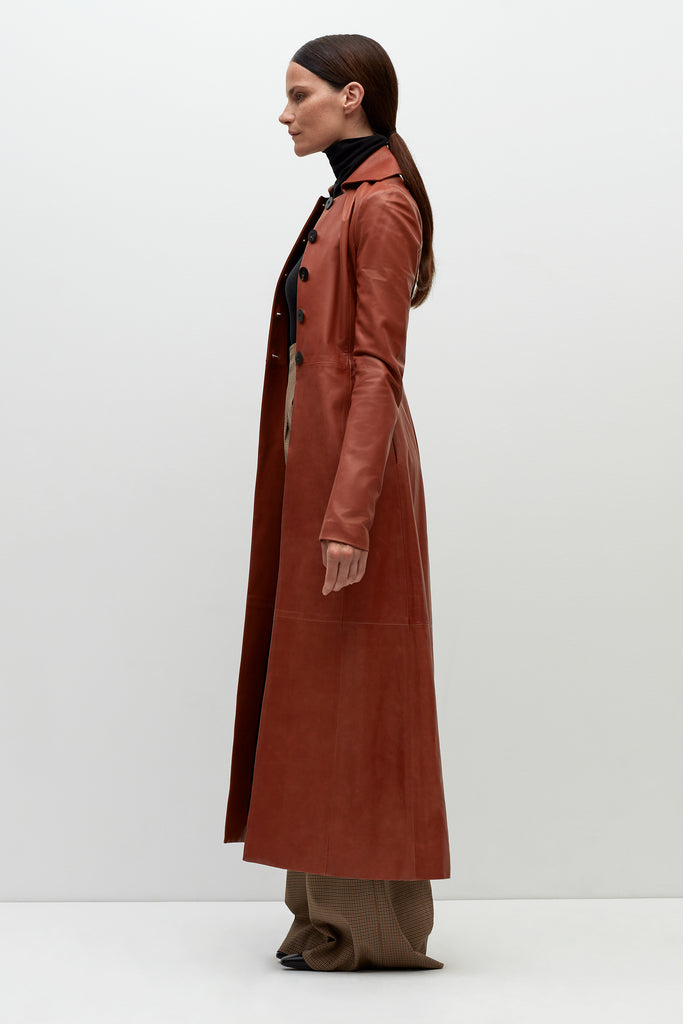 LEATHER FITTED MAXI COAT
