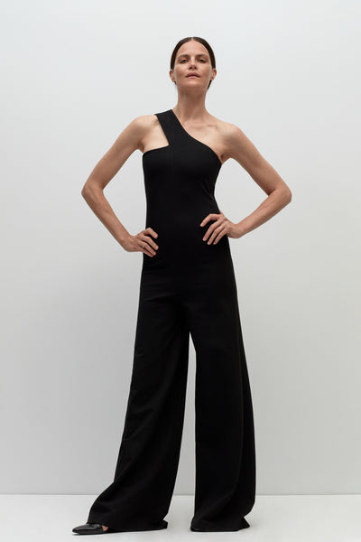 BANDED ONE SHOULDER JUMPSUIT