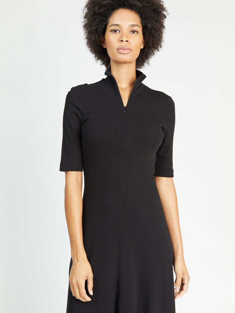 Cropped Sleeve Zip-Up Turtleneck Dress
