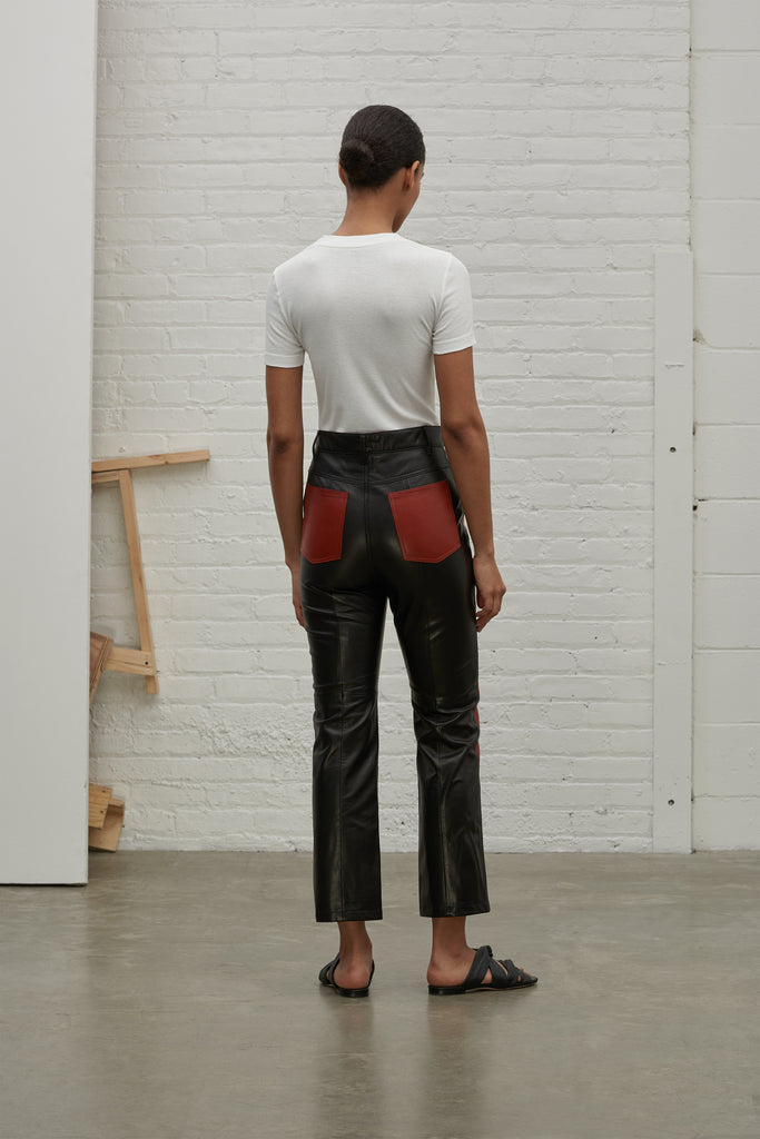 COLOR BLOCKED LEATHER PANT