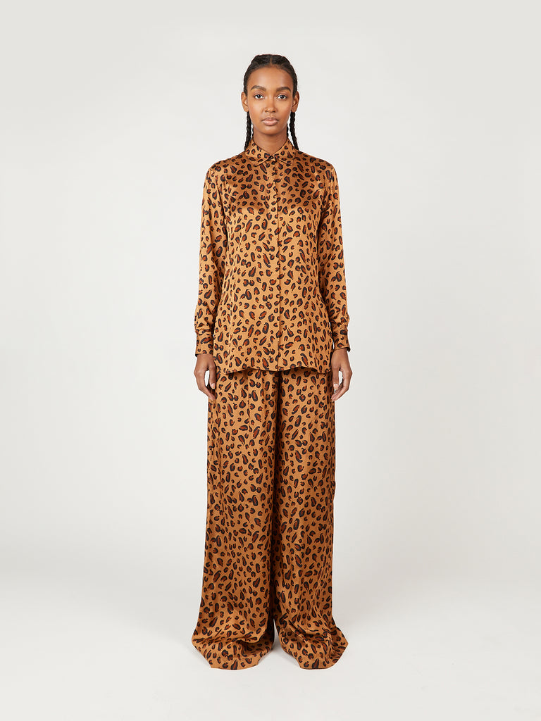 Leopard Print Gathered Waist Pants