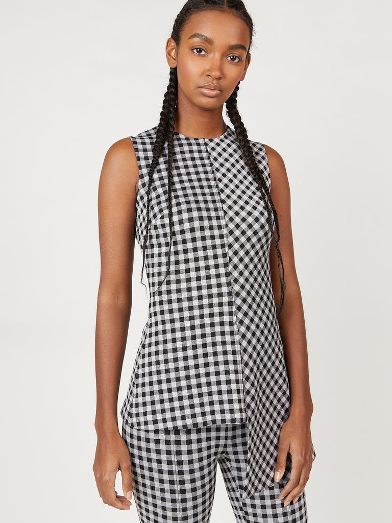 Gingham Fluted Top