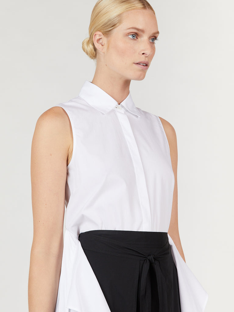 Sleeveless Apron Wrap Shirt