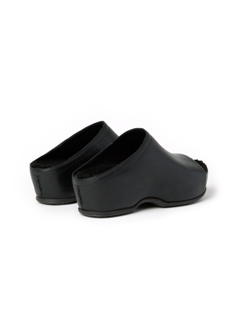ROSETTA GETTY X ECCO OPEN TOE SHEARLING CLOGS