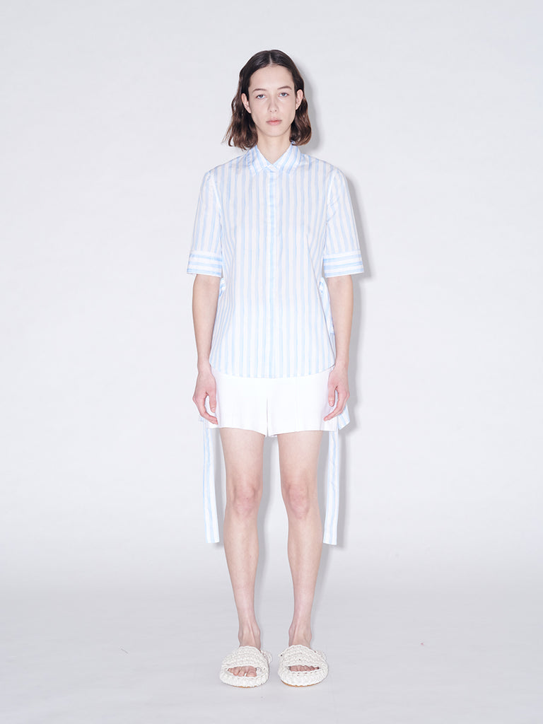 Short Sleeve Apron Wrap Stripe Shirt