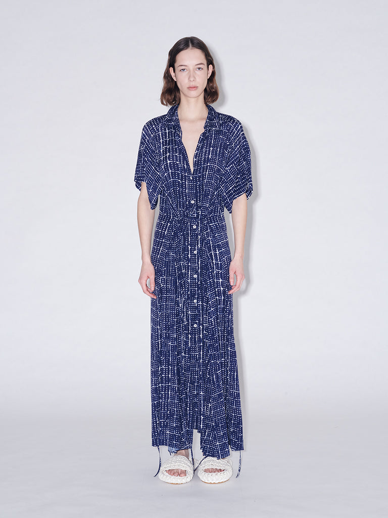 Printed Tie Cocoon Shirt Dress