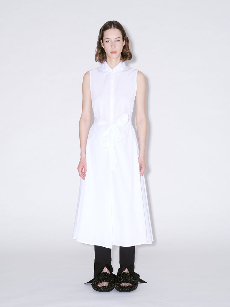 Sleeveless Apron Wrap Shirt Dress