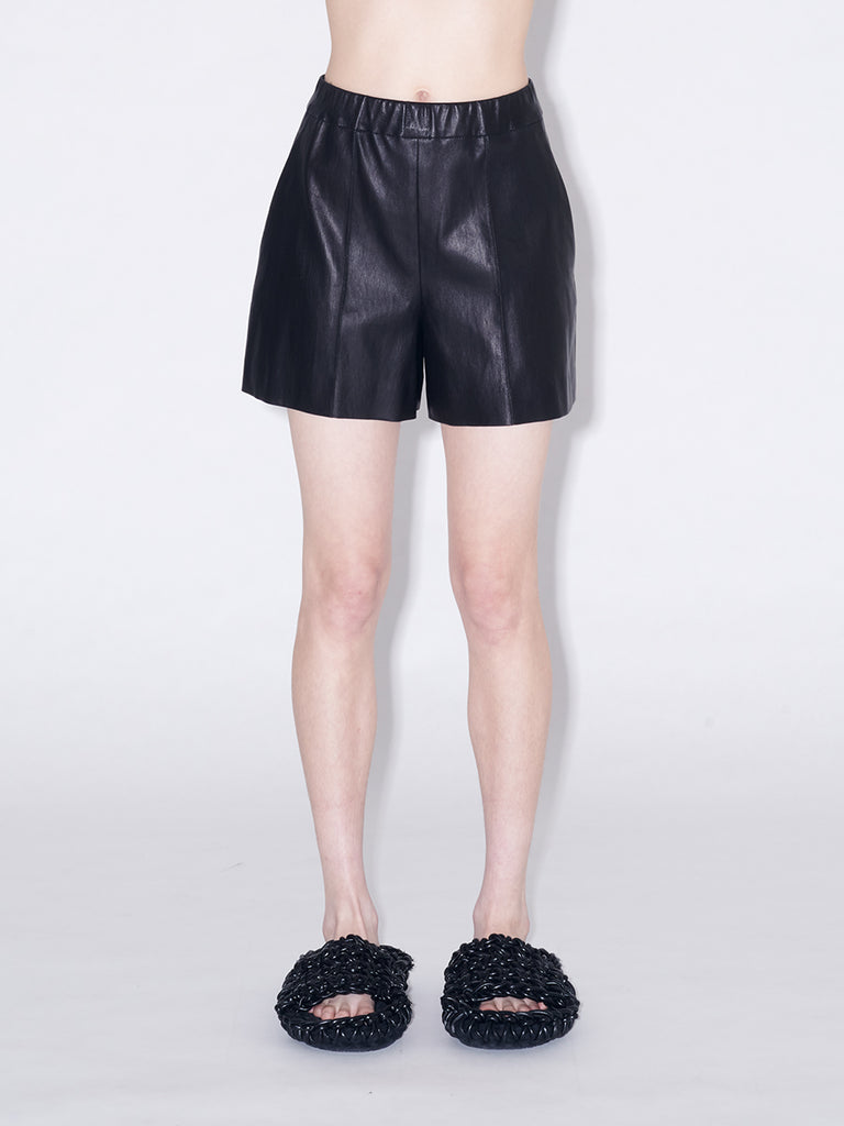 Pull On Pintuck Leather Shorts