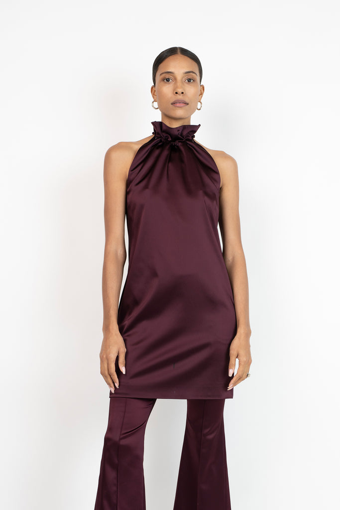 RUCHED DRAWSTRING DRESS