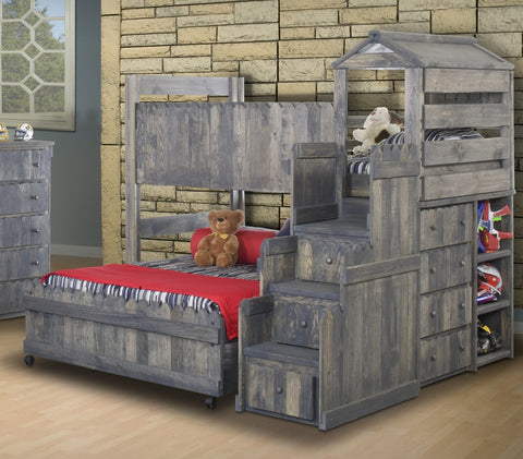 Chelsea Home Twin Over Full Loft Bed with Stairway Chest-Driftwood