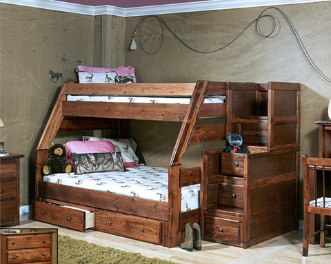 Chelsea Home Twin Over Full Bunk Bed with Stairway Chest with Storage-Cocoa