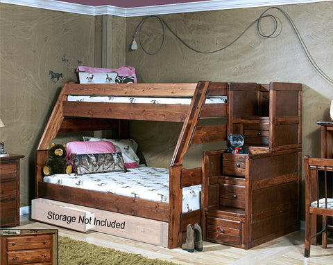Chelsea Home Twin Over Full Bunk Bed with Stairway Chest -Cocoa