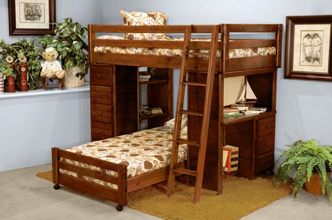 Twin Over Twin Loft Bed with Desk and Chest End -Cocoa