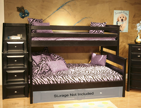 Chelsea Home Twin Over Full Bunk Bed With Stairway Chest Black Cherry