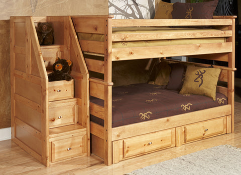 Chelsea Home Full Over Full Bunk Bed with Storage and Stairway Chest-Caramel