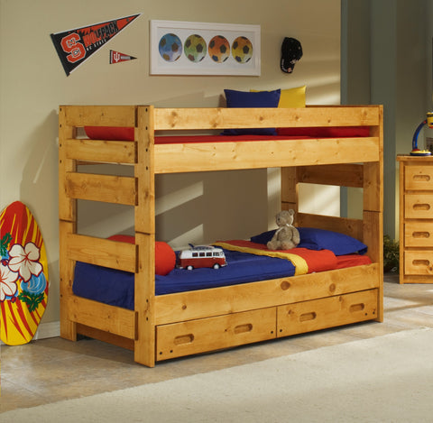 Chelsea Home Twin Over Twin Bunk Bed with Trundle-Cinnamon
