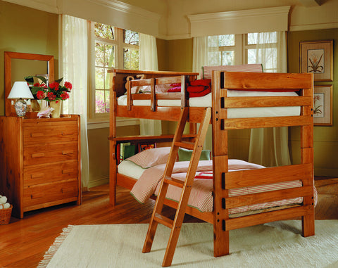 Chelsea Home Bookcase Twin Over Twin Bunk Bed-Honey